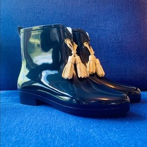 Capelli of NY Navy Tassel Ankle Rain Boots Size 6